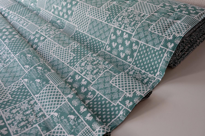 Metráž dekorační látka - Bavlna Selský motiv modrozelený  dccfa9a02a1