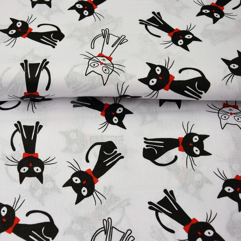 e214f9fe9dbb Metráž dekorační látka - hladká bavlna - černobílé kočky