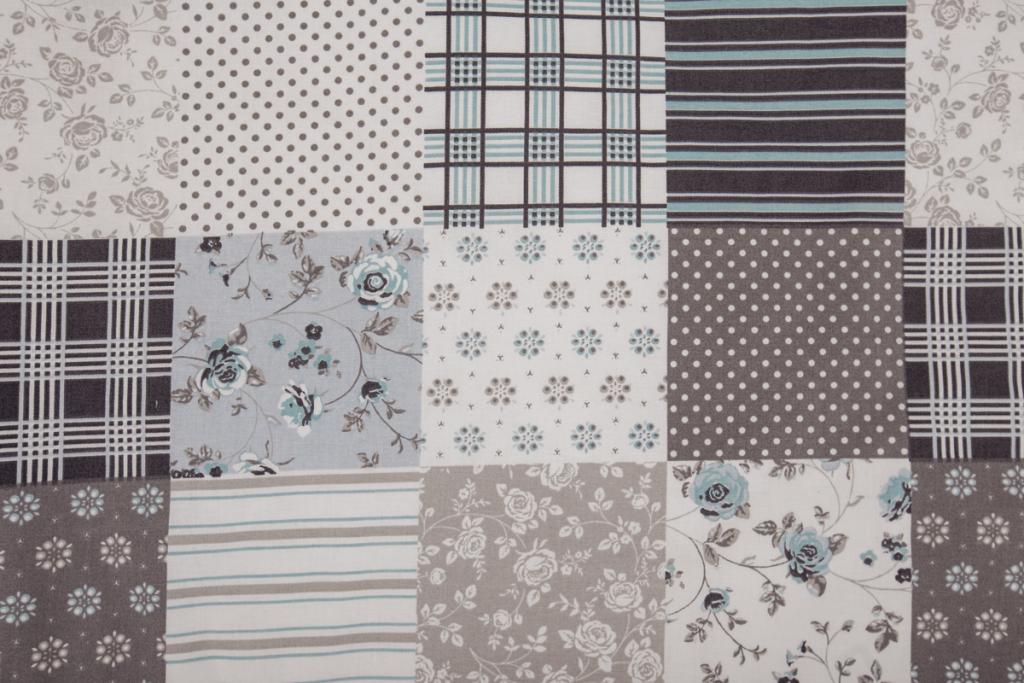 2b25051f1 Metráž bavlna Patchwork šedomodý | Kubešová-povlečení